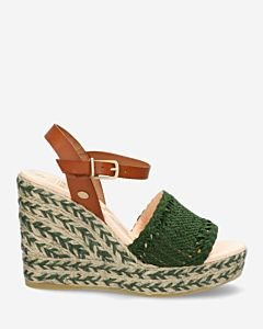 Green espadrille sandalet with woven strap