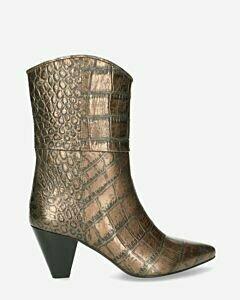Stiefelette-mit-Absatz-aus-metallisch-bedrucktem-Leder-Anthrazit
