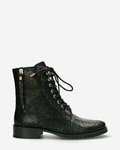 Schnürstiefel Krokodil-Muster Leder schwarz