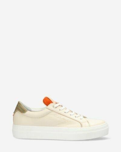Sneaker Glattleder Weiß und Orange
