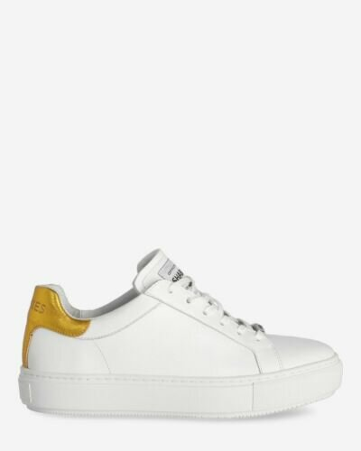 Sneaker smooth leather white yellow