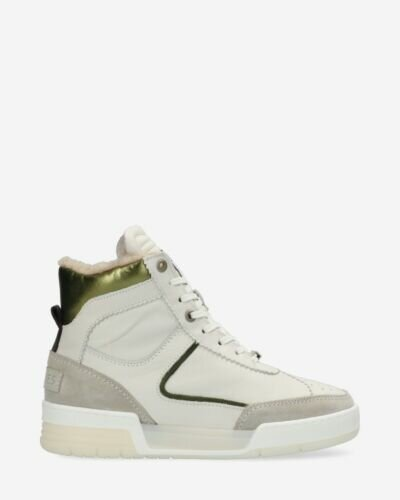 High sneaker leather-mix white/green