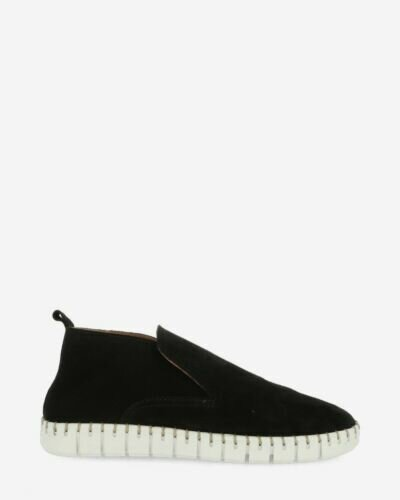High loafers suede black