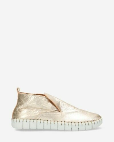 High loafers natural tanned metallic leather gold