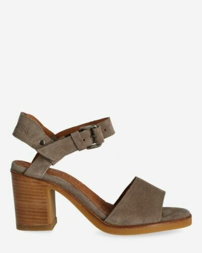 Taupe suede strappy sandal