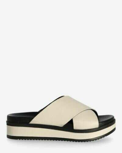 Slipper with leather sole off white