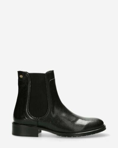 Chelsea Stiefelette glänzendes Muster schwarz