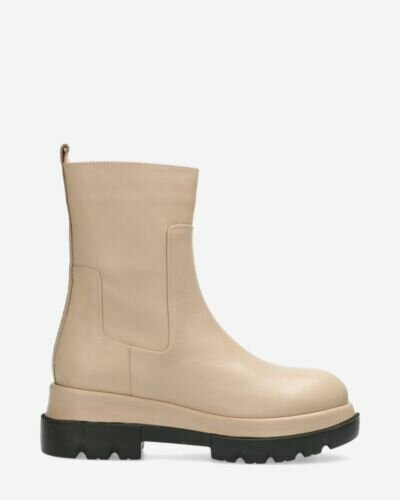 Ankle boot smooth leather light grey/nude