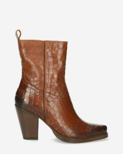 Western ankle boot printed leather brown