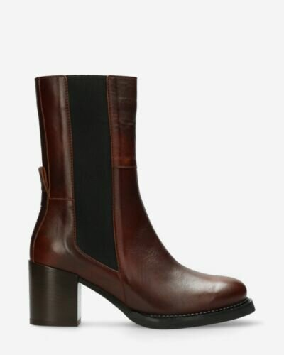 Ankle boot smooth leather brown