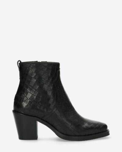 Ankle boot croco printed leather black