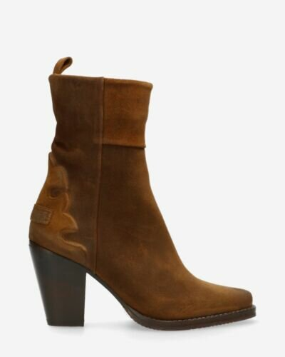 Ankle boot waxed suede warm brown