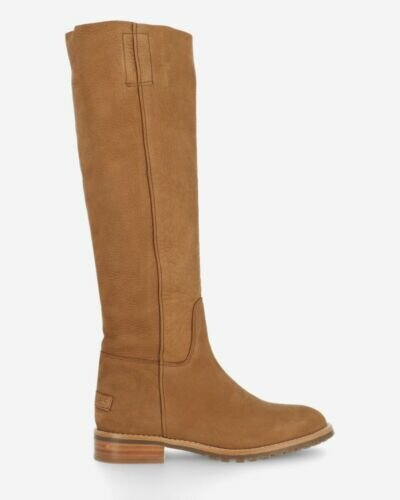 Shaft boot hand buffed leather brown