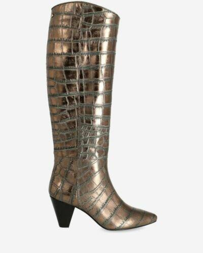Stiefelette mit Absatz aus metallisch bedrucktem Leder Anthrazit