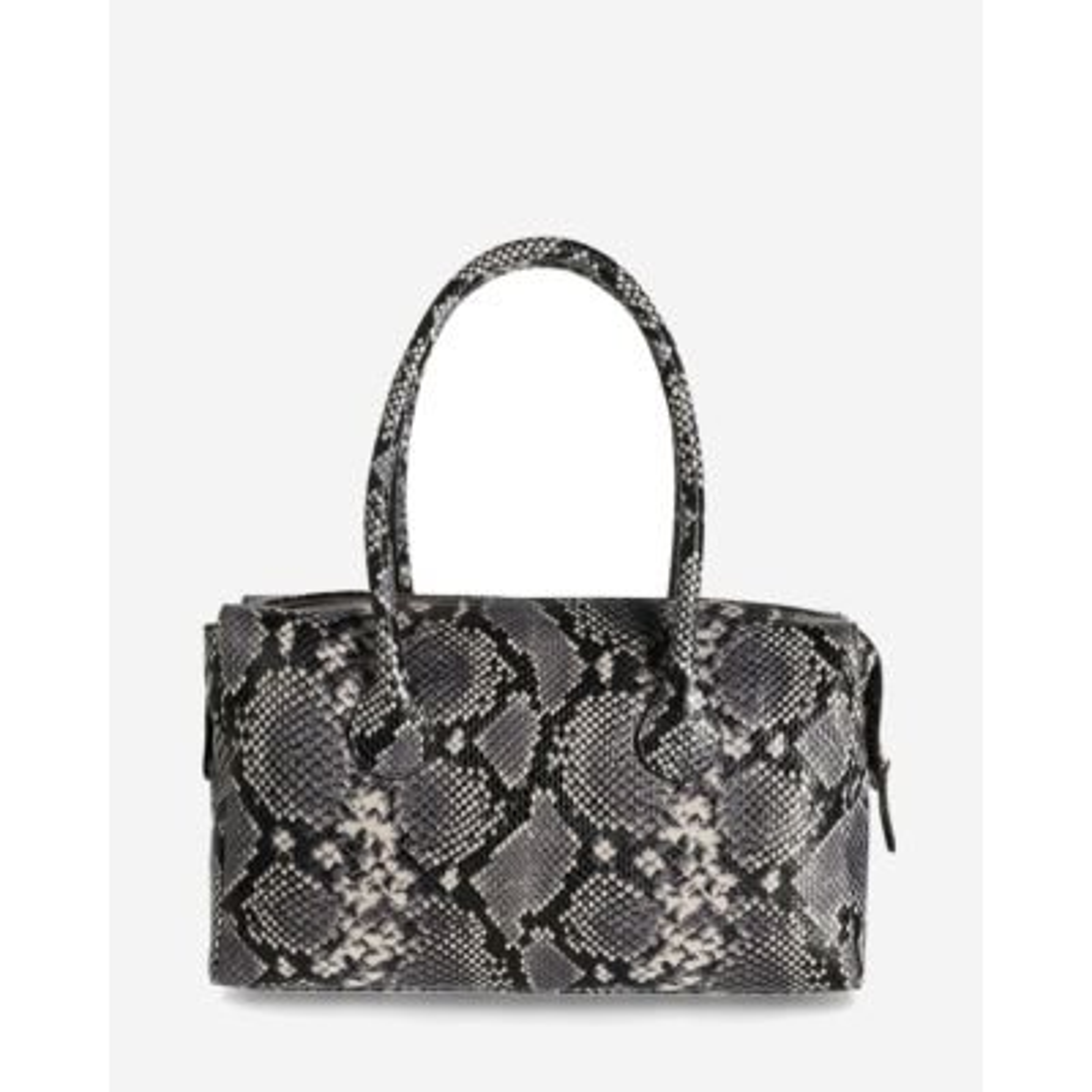 Handtasche-Snake-Print-Leder-Schwarz