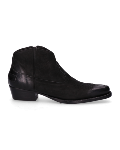 Western-boot-Goodyear-waxed-grain-leather-with-smooth-leather-Black