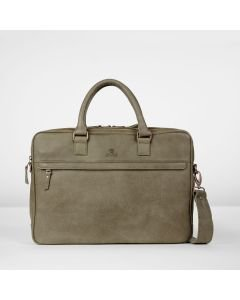Business bag hand buffed leather Taupe