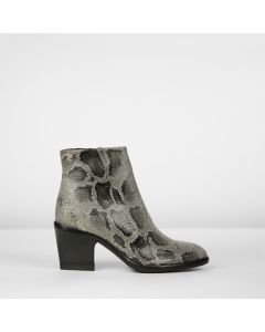 Stiefelette Leder mit Muster Taupe