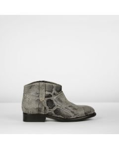Stiefelette Leder mit Pythonmuster Taupe