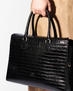 WORKINGBAG-M-CROCO-PRINTED-LEATHER-Black