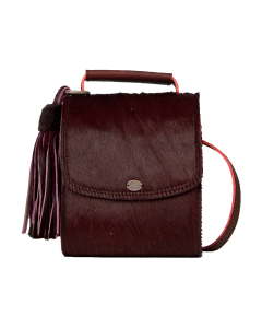 Cross-body-mit-Ponyhaar-Bordeaux