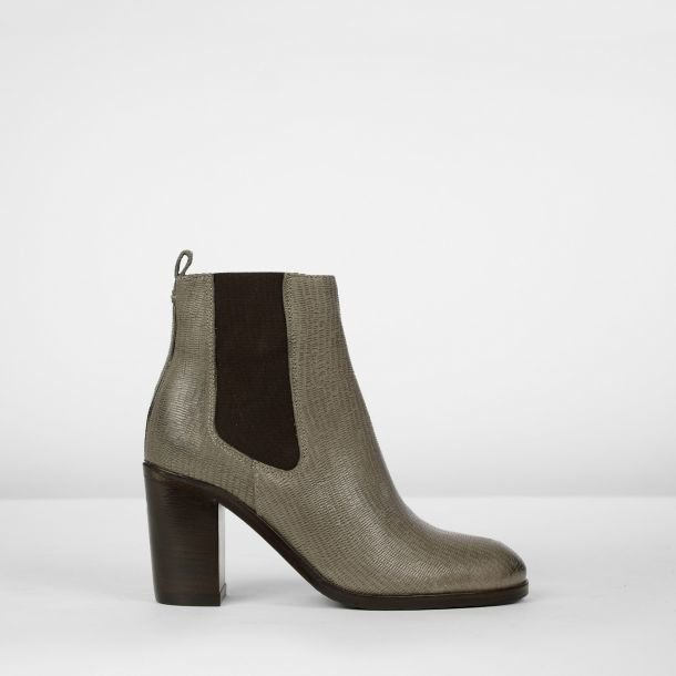 Chelseaboot Leder mit Muster Taupe
