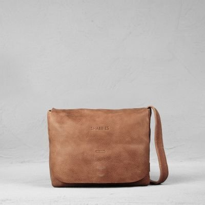 Shoulderbag-hand-buffed-leather-Brick-Brown